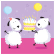 Birthday cake with sheep