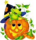 Halloween jackolantern and frog