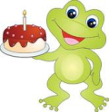 Frog with birthday cake